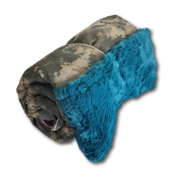 ACU/UCP Camo Pattern Unicorns & Rainbows Woobie Weighted Blanket with Mallard Blue Fur
