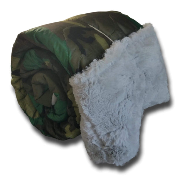 Soldier Thin Blue Line Woodland Camo Pattern Weighted Woobie Blanket with Cloud Faux Fur