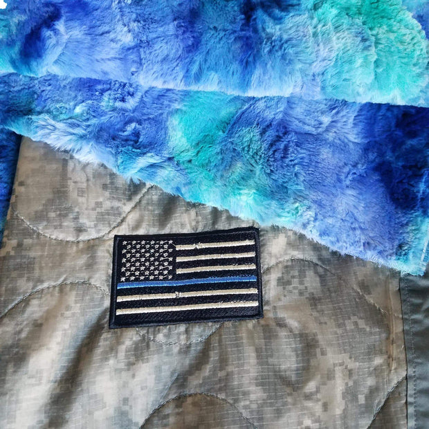 ACU/UCP Camo Pattern Thin Blue Line Flag Weighted Woobie Blanket with Tidal Wave Faux Fur