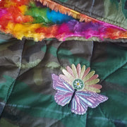 Woodland Camo Pattern Rainbow Daisy Woobie Weighted Blanket with Tie Dye Faux Fur
