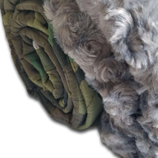 Woodland Camo Pattern Charcoal Faux Fur