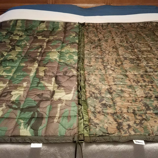 Laced-Up Woobie Weighted Blanket ~ 88 inches x 61 inches ~ Coyote Camo/Loden Fur
