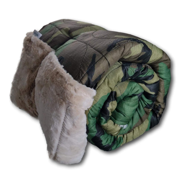 Woodland Camo Pattern Weighted Woobie Blanket with soft Bunny Faux Fur