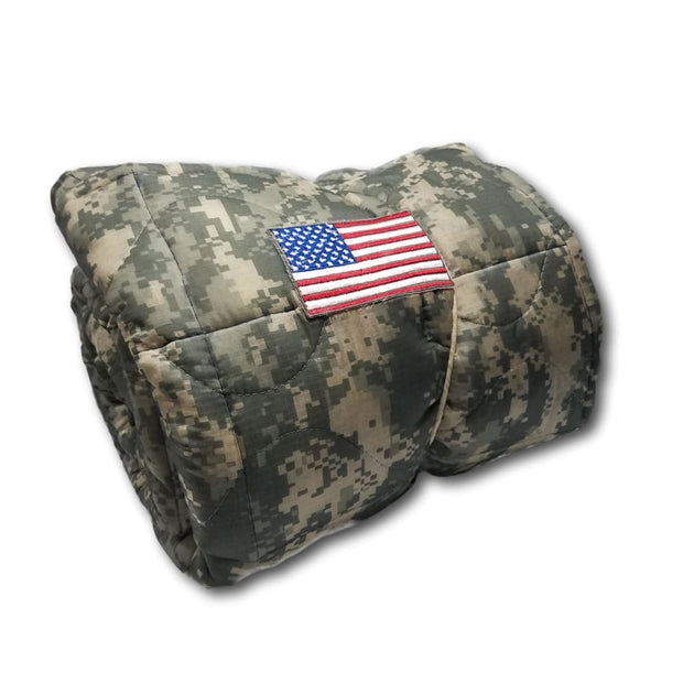 ACU/UCP Camo Pattern - American Flag - Woobie Weighted Blanket