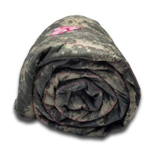 ACU/UCP Camo Pattern - Chick Pink Camouflage Heart and Pink Stitches - Woobie Weighted Blanket Shell