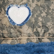 ACU/UCP Camo Pattern Sequin Fringed Heart Chambray Fur - Woobie Weighted Blanket