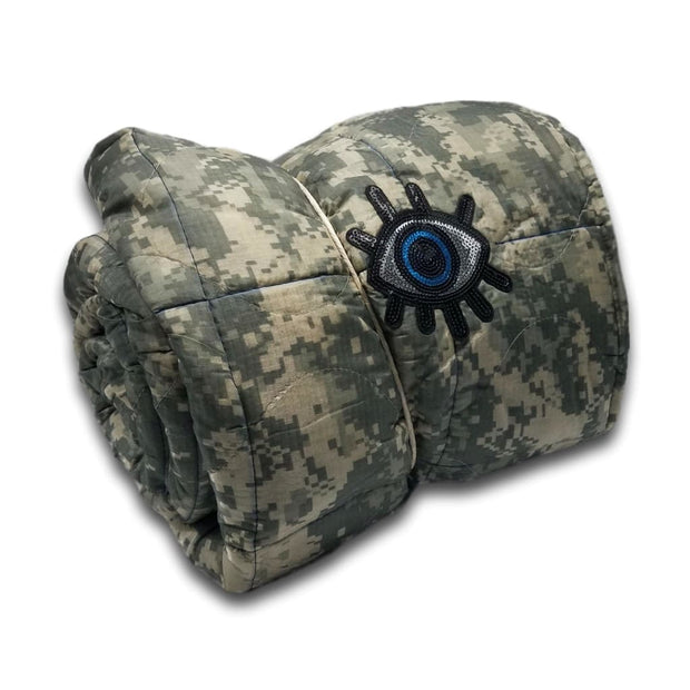 ACU/UCP Camo Pattern Sequined Good Eye - Woobie Weighted Blanket