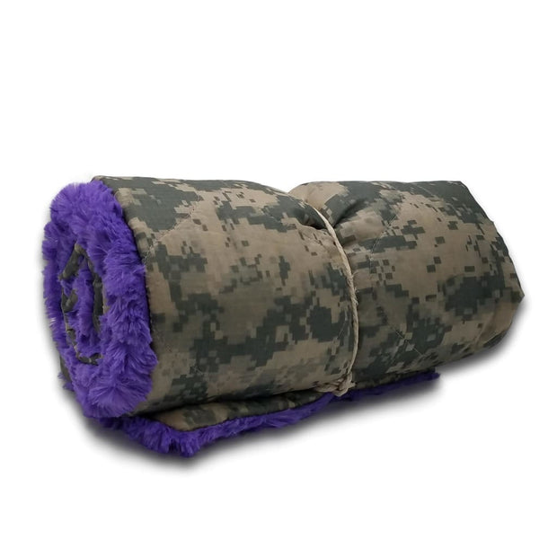 Wee Woobie Weighted Blanket - ACU Camo Pattern Violet Faux Fur - Wee Woobie Weighted Blanket