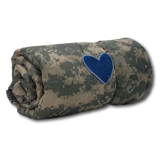 Wee Woobie Weighted Blanket - ACU Pattern with Denim Heart - Wee Woobie Weighted Blanket