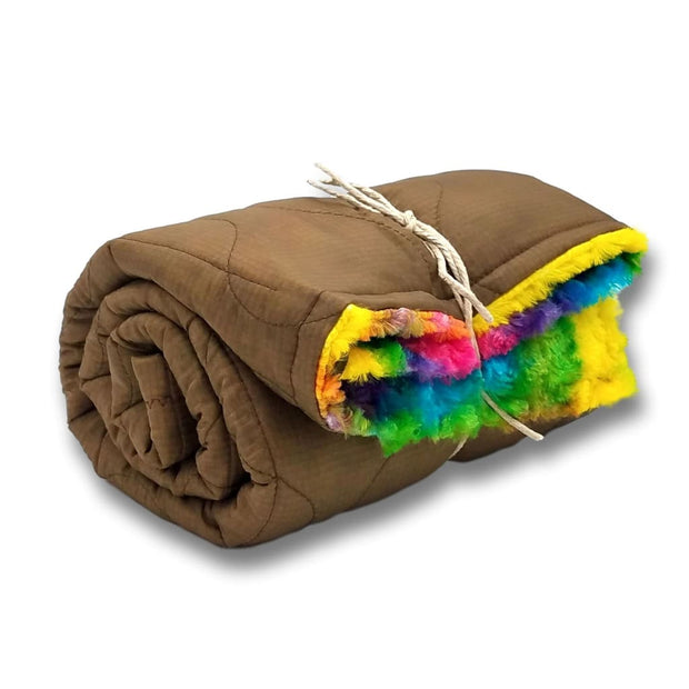 Wee Woobie Weighted Blanket - MARPAT Coyote with Tie Dye Faux Fur - Wee Woobie Weighted Blanket