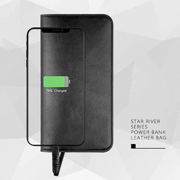 PU Leather Wallet Power Bank for IOS, Android or Type C Port Phones (6800mAh)