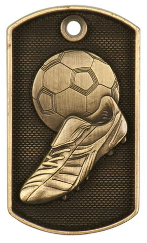 "2"" Antique Gold 3D Soccer Dog Tag - Red Carpet Trophy Shop"