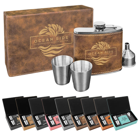 Leatherette Flask Gift Set