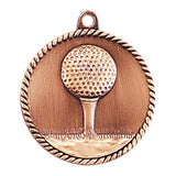 "2"" Antique Gold Golf High Relief Medal - Red Carpet Trophy Shop"