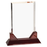 Rectangle Prestige Acrylic  Award with Rosewood Piano Finish Base