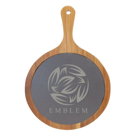 Round Acacia Wood/Slate Serving Board with Handle - Red Carpet Trophy Shop