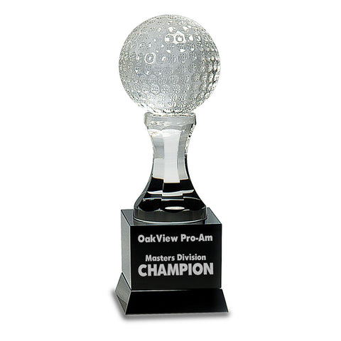 Crystal Golf Ball on Black Pedestal Base - Red Carpet Trophy Shop