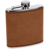 6 oz. Leatherette Stainless Steel Flask - Red Carpet Trophy Shop