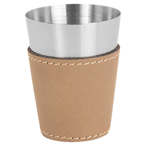 Leatherette & Stainless Steel Shot Glass - Red Carpet Trophy Shop