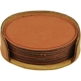 "4"" Round Leatherette 6-Coaster Set - Red Carpet Trophy Shop"