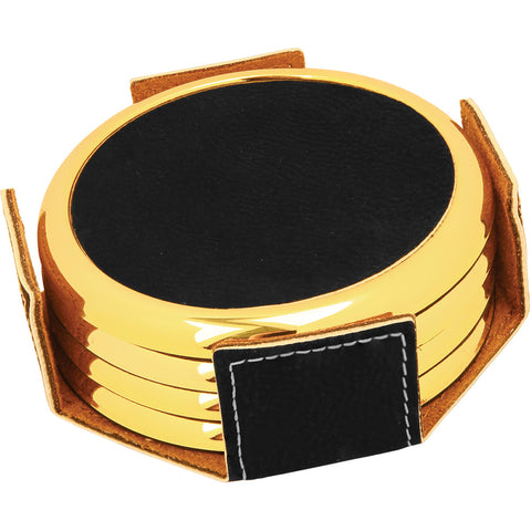 "3 5/8"" Round Black/Gold Laserable Leatherette 4-Coaster Set w/Gold Edge"