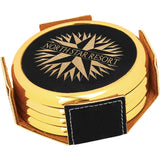 "3 5/8"" Round Black/Gold Laserable Leatherette 4-Coaster Set w/Gold Edge - Red Carpet Trophy Shop"