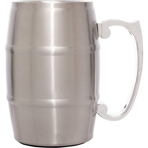 17 oz. Silver Stainless Steel Barrel Mug with Handle - Red Carpet Trophy Shop