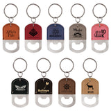 Leatherette Oval Bottle Opener Keychain