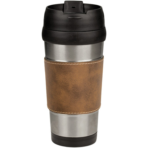 Leatherette Stainless Steel Travel Mug