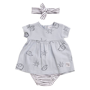 Babybol - Sunshine & Elephants Dress, Knickers & Headband Baby 3 Piece Outfit - Stylemykid.com