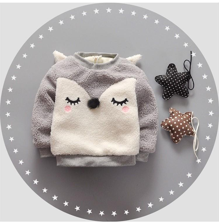 Blushing Fox - Grey fluffy fleece lined fox face Jumper 6 months to 3 years - Stylemykid.com