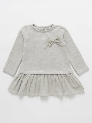 Artie - Silver Grey Tulle Frill Jumper Girls Party Dress with Bow - Stylemykid.com