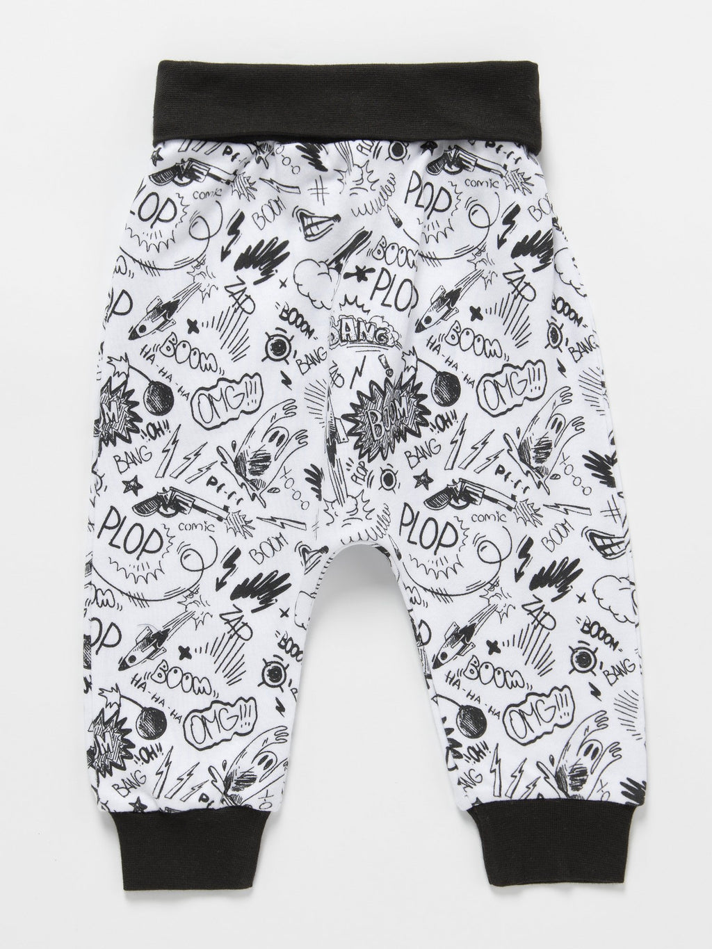 Pop Comic Monochrome Bottoms for Babies - 0 to 12 months - Stylemykid.com