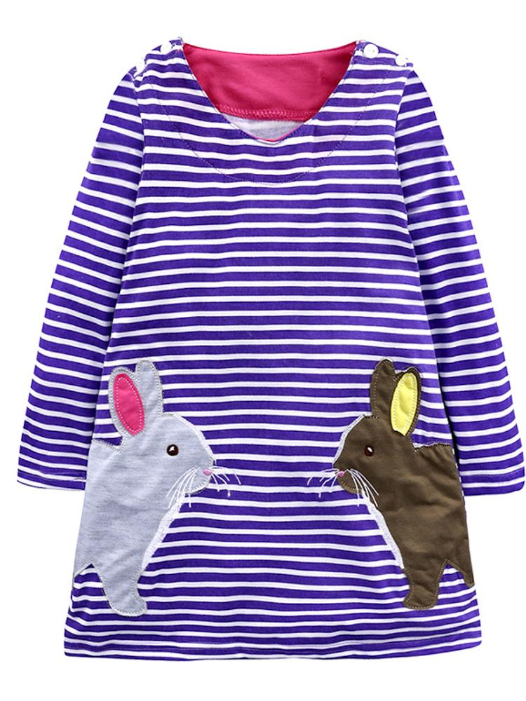 Striped Bunny Purple Long Sleeve Girls Dress - Stylemykid.com
