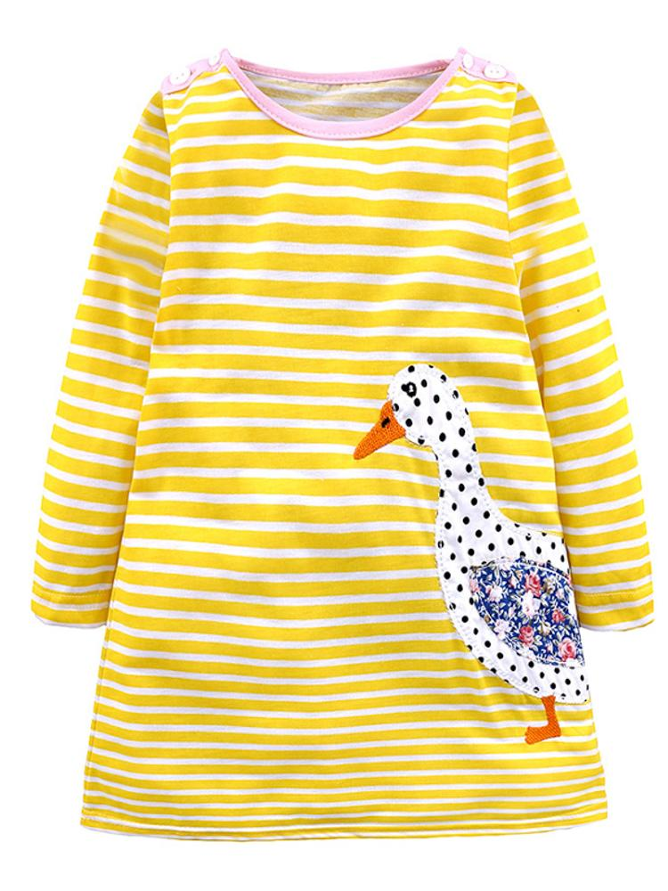 Striped Long Sleeve Mrs Duck Girls Dress - Stylemykid.com