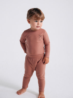 Artie - Bear Boo! Ribbed Chestnut Baby Bodysuit With Bear Embroidery - Stylemykid.com