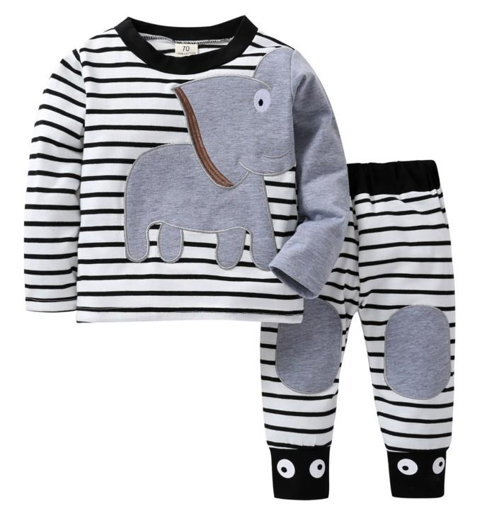 Baby Elephant Two Piece Stripey Top and Bottoms Set - Stylemykid.com