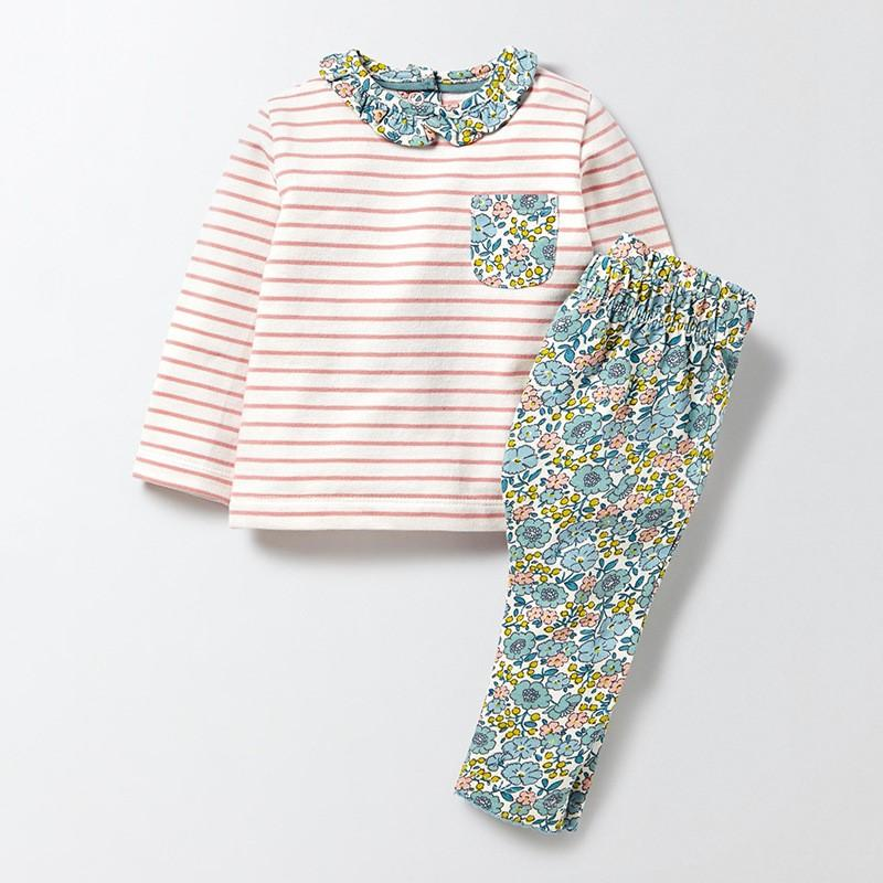 Vibrant Floral & Stripes Long Sleeve T shirt and Matching Leggings Set - 12 months to 7 years - Stylemykid.com