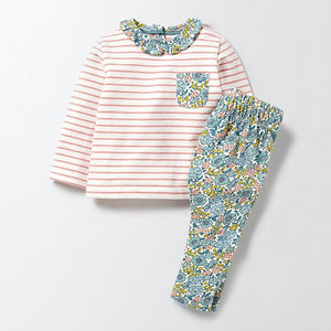 Vibrant Floral & Stripes Girls Long Sleeve T shirt and Matching Leggings Set - Stylemykid.com