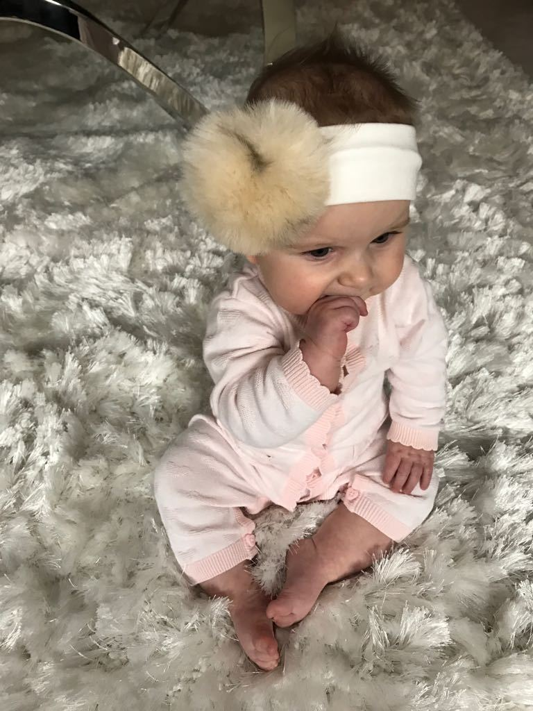Faux Fur Pom Pom Headband - White/Ivory - 6 Months to 2 Years - Stylemykid.com