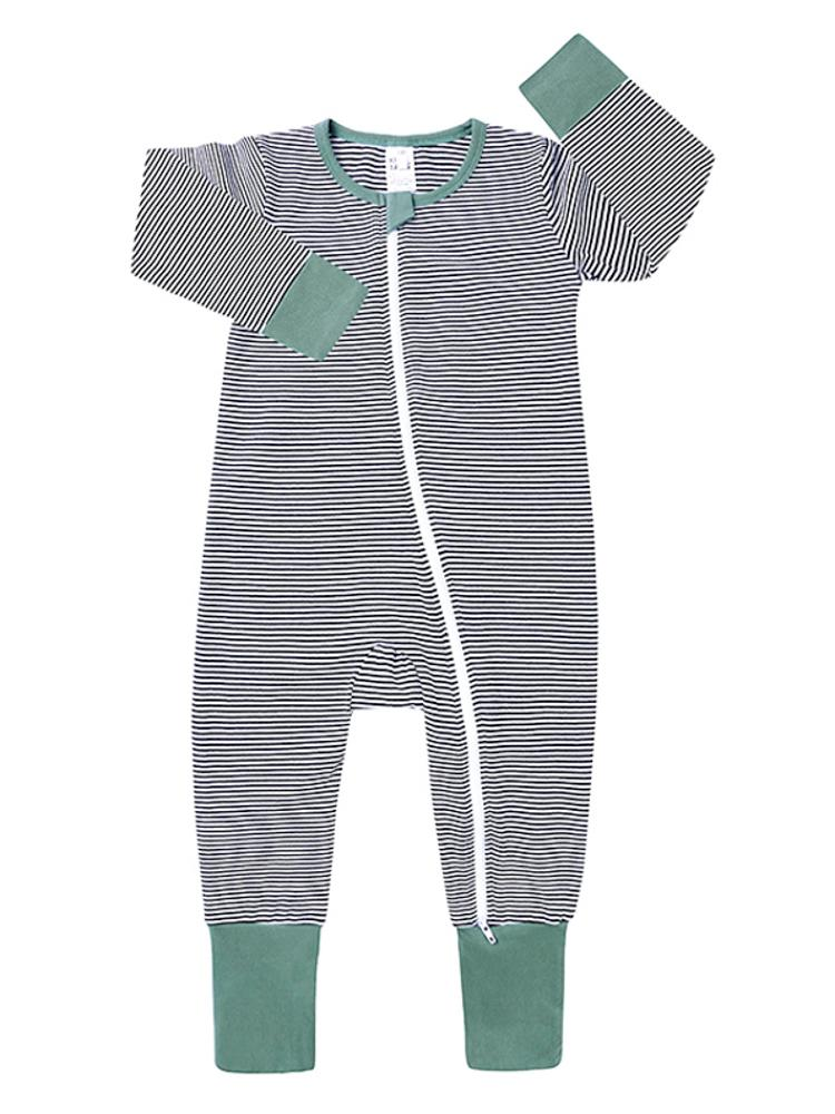 Green Monochrome Stripes Baby Zip Sleepsuit with Hand & Feet Cuffs - Stylemykid.com