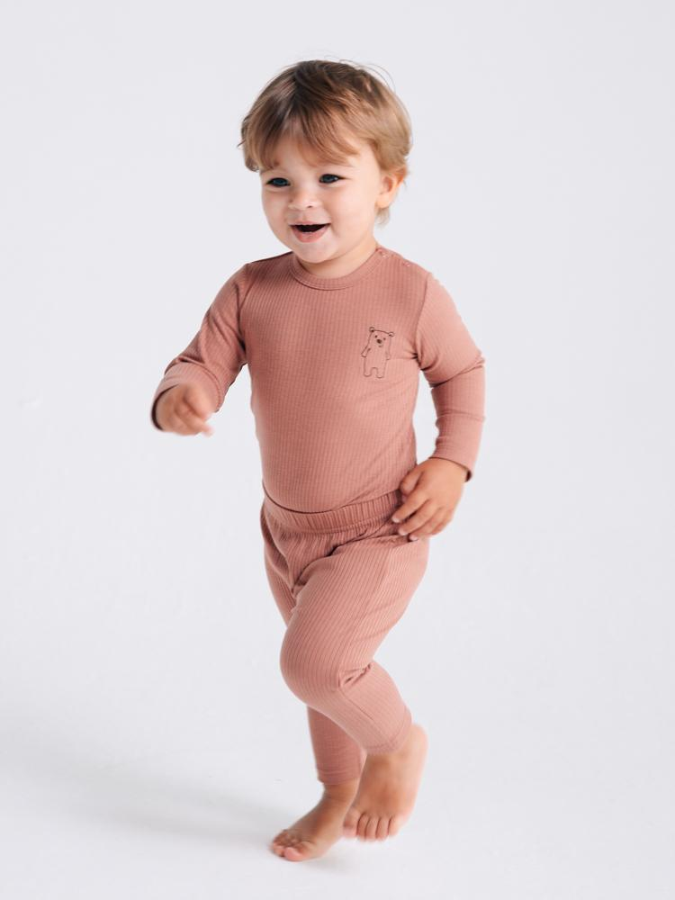 Artie - Ribbed Chestnut Baby Bodysuit With Bear Embroidery - Bear Boo! - Stylemykid.com