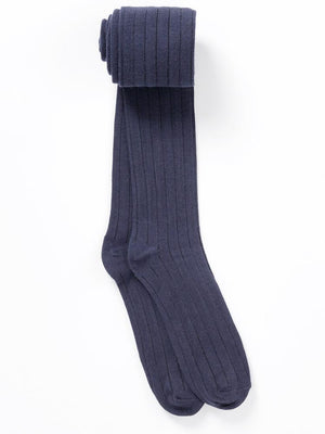 Artie - Deep Blue Ribbed Girls Tights - Stylemykid.com