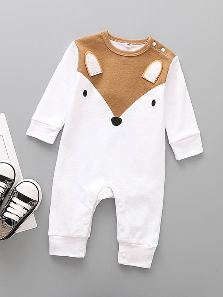 Friendly Fox Face White Baby Sleepsuit - Stylemykid.com