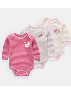 Triple Pack Long Sleeve Pinks Teddy Bear Baby Bodysuit - Stylemykid.com