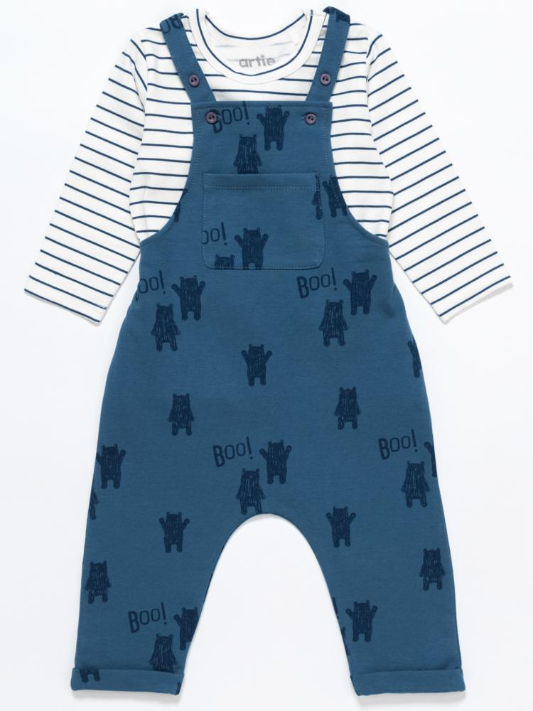 Artie - Bear Boo! Blue French Terry Dungarees - Stylemykid.com