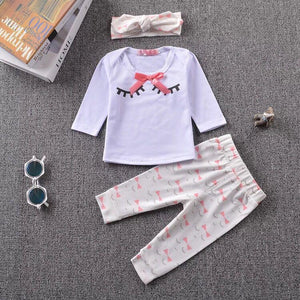 Flutter Lash Set - Eyelashes and Bow 3 Piece Girls Matching Top, Bottoms & Headband Outfit - Stylemykid.com