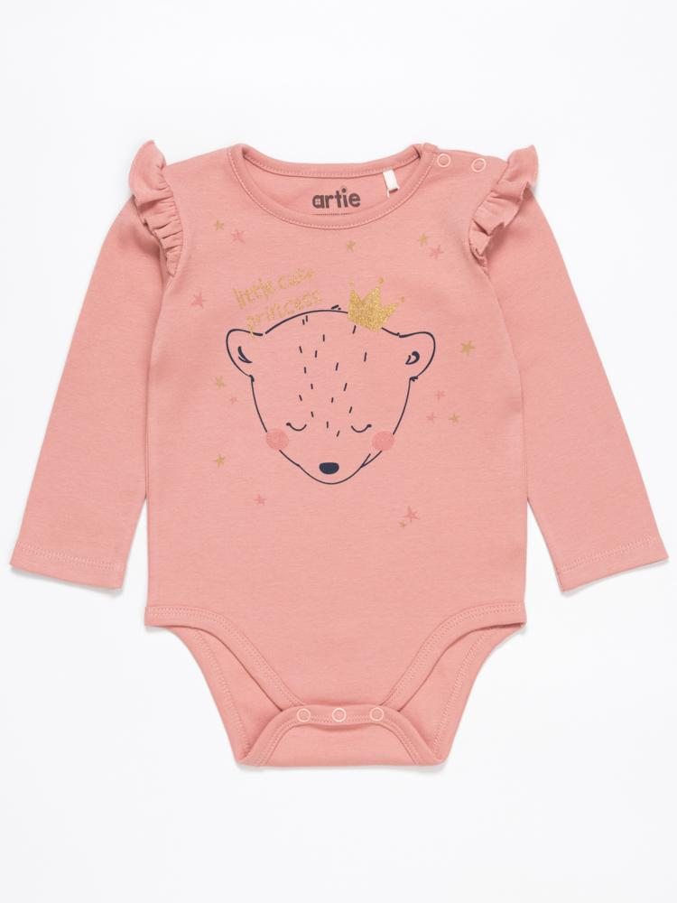 Artie - Baby Girl Pink Interlock Bodysuit with Ruffles -  Princess Bear - Stylemykid.com