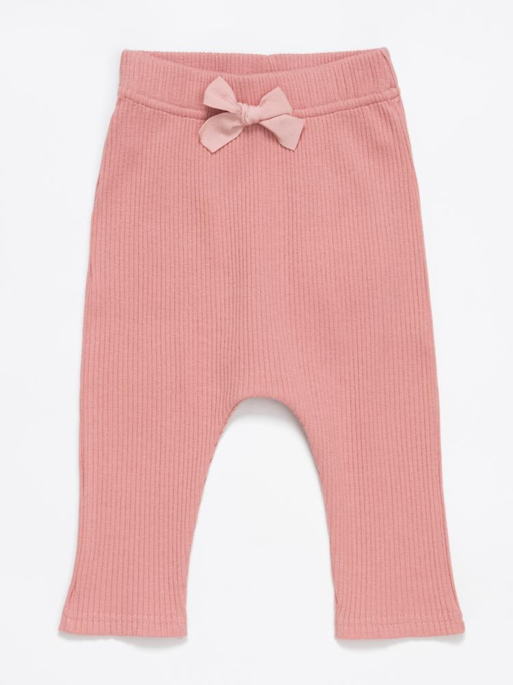 Artie - Ribbed Pink Baby Girls Bow Leggings - Rose Forest - Stylemykid.com