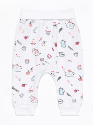 Artie - Tea Time! White Printed Baby Bottoms - Unisex - Stylemykid.com